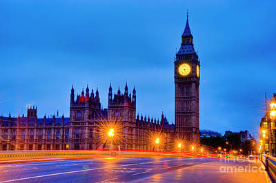 Big Ben At Night Art Print by Donald Davis