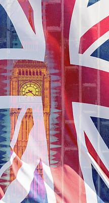Photograph - Big Ben Blended With British Flag London Fine Art Photography by Jacek Wojnarowski