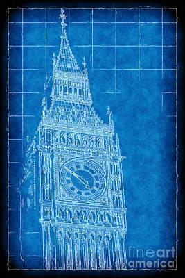 Digital Art - Big Ben Blueprint by John Rizzuto