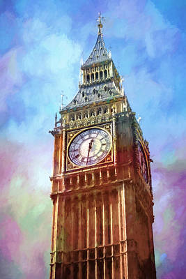 London Mixed Media - Big Ben In Colors by Lutz Baar