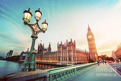 Lamp Photograph - Big Ben, London The Uk At Sunset. Retro Street Lamp Light On Westminster Bridge. Vintage by Michal Bednarek