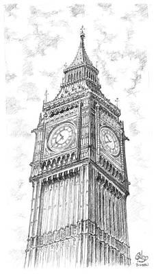 Westminster Abbey Drawing - Big Ben London by Vlado Ondo