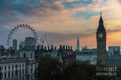 Photograph - Big Ben Shard And London Eye Sunrise by Mike Reid