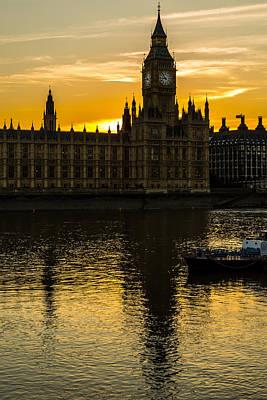 Big Ben Tower Golden Hour In London Art Print