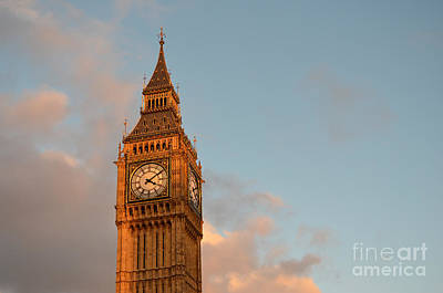 Photograph - Big Ben Tower With Blue Sky And Some Clouds by IPics Photography