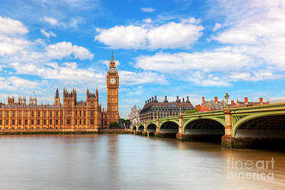 Photograph - Big Ben, Westminster Bridge On River Thames In London, England, Uk by Michal Bednarek
