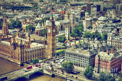 Eye Photograph - Big Ben, Westminster Bridge On River Thames In London, The Uk Aerial View by Michal Bednarek