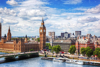 Photograph - Big Ben, Westminster Bridge On River Thames In London, The Uk. Sunny Day by Michal Bednarek
