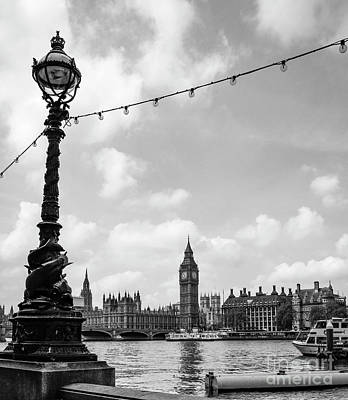 Photograph - Big Ben With Sturgeon Lamp Black And White by Marina McLain