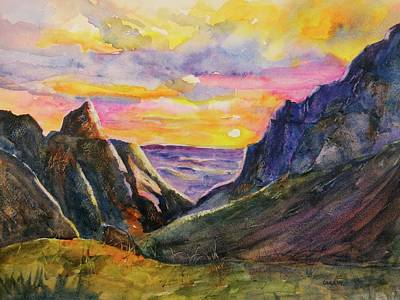 Painting - Big Bend Texas Window Trail Sunset by CarlinArt Watercolor