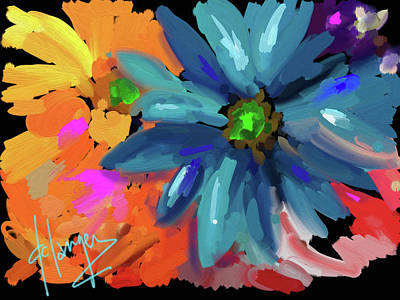 Art Print featuring the painting Big Blue Flower by DC Langer