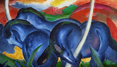 Franz Marc Painting - Big Blue Horses by Franz Marc