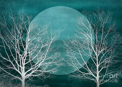 Digital Art - Big Blue Moon Silhouette by Patricia Strand