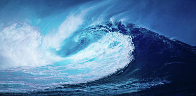 Pyrography - Big Blue Ocean Beach Wave Art by Wall Art Prints