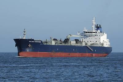 Photograph - Big Blue Tanker Ship by Bradford Martin