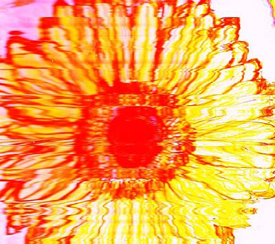 Mixed Media - Big Bold Yellow Red And Orange Flower by Anne-elizabeth Whiteway