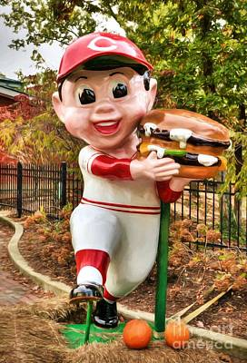 Art Print featuring the photograph Big Boy Is A Cincinnati Reds Fan by Mel Steinhauer