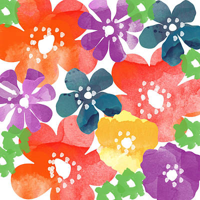 Flower Design Painting - Big Bright Flowers by Linda Woods