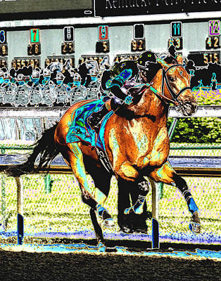 Racetrack Mixed Media - Big Brown by Gary Rogers