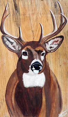 Big Buck On Wood Original by Debbie LaFrance