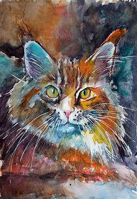 Light Orange Painting - Big Cat by Kovacs Anna Brigitta