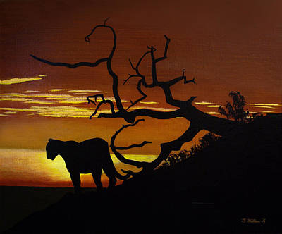 2d Painting - Big Cat Silhouette by Brian Wallace