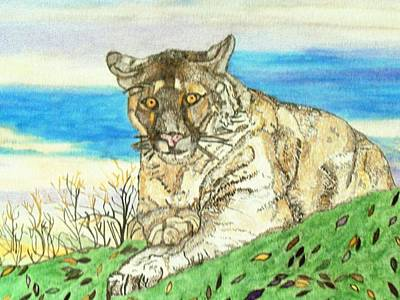 Art Print featuring the painting Big Cat Watching Out For Prey by Connie Valasco