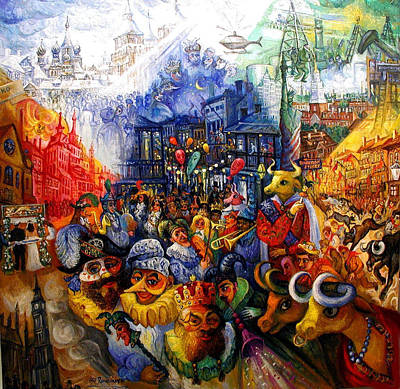 Painting - Mardi Gras, From New Orleans To Spain, Moscow, Boston, New York, Ukraine, London by Ari Roussimoff
