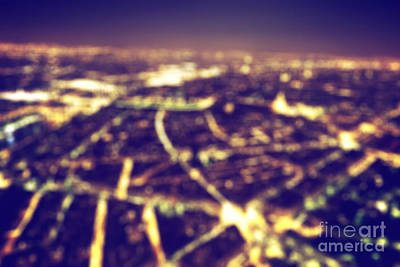 Paris Skyline Royalty-Free and Rights-Managed Images - Big city blurred night lights by Michal Bednarek