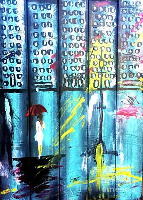 Lightpost Painting - Big City Shopping  by Scott D Van Osdol