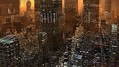 Digital Art - Big City Sunset by Hal Tenny