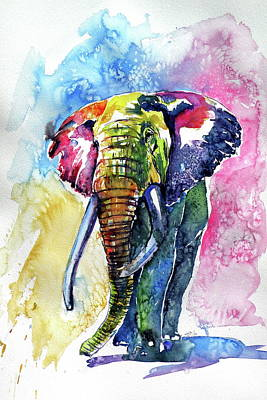 Painting - Big Colorful Elephant 17 by Kovacs Anna Brigitta