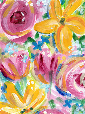 Big Colorful Flowers - Art By Linda Woods Art Print by Linda Woods