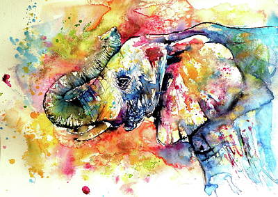 Painting - Big Colorful Majestic Elephant by Kovacs Anna Brigitta