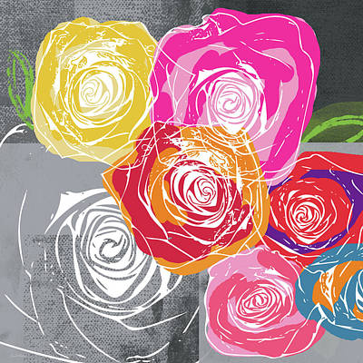 Illustration Mixed Media - Big Colorful Roses 1- Art By Linda Woods by Linda Woods