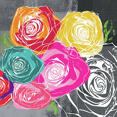 Mixed Media - Big Colorful Roses 2- Art By Linda Woods by Linda Woods