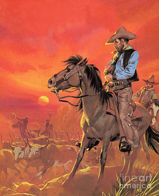 Cattle Drive Painting - Big Country by Angus McBride