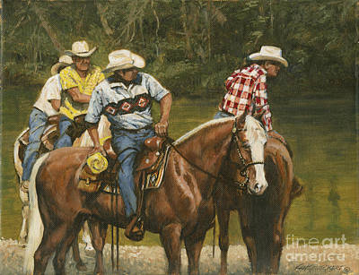 Big Creek - 4 Riders Art Print by Don  Langeneckert