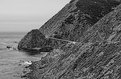 Photograph - Big Creek Bridge Black And White by Judy Vincent