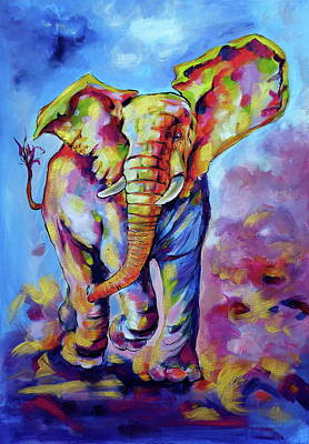 Painting - Big Cute Playing Elephant by Kovacs Anna Brigitta