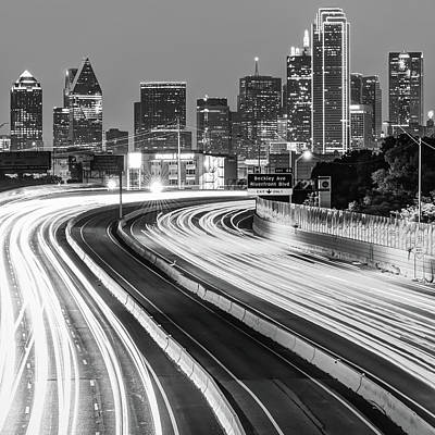 Photograph - Big D Skyline - Black And White Texas Cityscape by Gregory Ballos