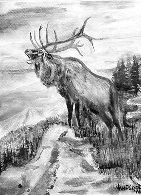 Big Elk Mountain - Black And White Art Print