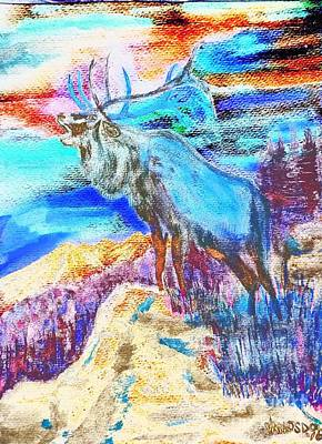 Big Elk Mountain - Colorful Abstract Original by Scott D Van Osdol