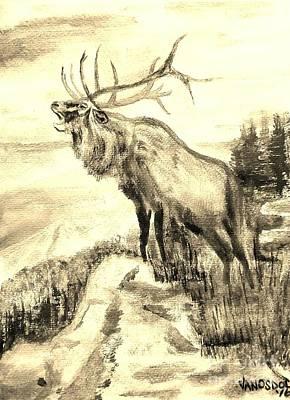 Big Elk Mountain - Sepia Original by Scott D Van Osdol