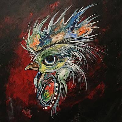 Nature Painting - Big Eye Rooster by Sam Lea