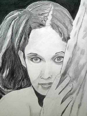 Drawing - Big-eyed Girl by Cathy Jourdan