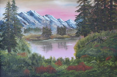 Reflections Of Sky In Water Painting - Big Fir Lake by Lou Magoncia