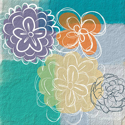 Abstract Flower Wall Art - Painting - Big Flowers by Linda Woods