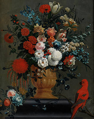 Big Flowers Still Life With Red Parrot Art Print