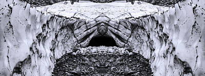Glacier Reflections Photograph - Big Four Ice Caves Reflection Black And White by Pelo Blanco Photo